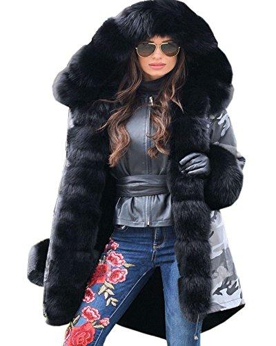 Aofur Warme Damen Winter Jacke Winterjacke Parka Mantel Kunstfell CAMOUFLAGE GRAU KAPUZE MANTEL Größe 36-50 (50, Schwarz)