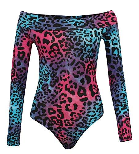 80's Kostüm Bunte - Fast Fashion Frauen Bodysuit Kleid Schultermit Off Neon Leopard Druckte Reizvolles Bodycon