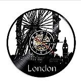 FQCJD Orologio da Parete in Vinile con Dischi Ruota panoramica a Londra Muto Fantastico Orologio retrò Squisito Regalo Creativo Decorazioni per la casa Decorazioni per pareti