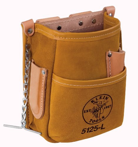 Klein Tools 5125L Leather 5-Pocket Tool Pouch with Tape Thong by Klein Tools -