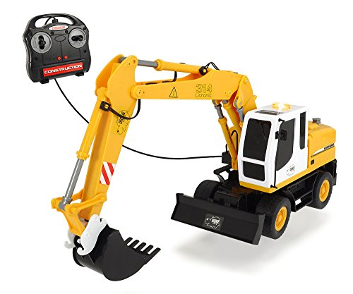 Dickie Toys 203729001 - Pala Excavadora de Ruedas con Control Remoto por Cable, Coche y Modelo de tráfico