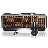 Lexon tech Set Tastiera e Mouse Wireless, Mouse da Gioco Ricaricabile con Batteria al Litio da 3800 mAh, Pannello in Metallo retroilluminato a LED, Tastiera Impermeabile + Mouse Silenzioso a 6 Tasti.
