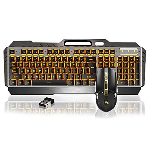 Kabelloses Tastatur- und Maus-Set, wiederaufladbare Gaming-Tastatur-Maus mit 3800 mAh großer Kapazität, Plug & Play, LED-beleuchtete Metallplatte, wasserdichte Tastatur + 6 Tasten lautlose Maus