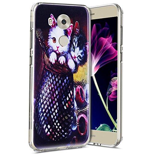Coque Huawei Mate 8, Étui Huawei Mate 8, Surakey Huawei Mate 8 Coque Transparente Silicone avec Motif Chat Cerf Ours Dessin Imprimé Souple TPU Housse Etui avec Absorption de Choc Bumper Ultra Mince Etui de Protection Cas en Caoutchouc Premium Crystal Clear Flex Soft Cover Case Skin Arriere Extra Slim Téléphone Couverture TPU Coque Housse Étui pour Huawei Mate 8 (Couple de Chats)