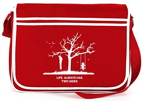 Shirtstreet24, Life Always Has Two Sides, Retro Messenger Bag Kuriertasche Umhängetasche , Größe: onesize,Rot (Messenger Bag Rote Retro)