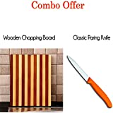 McClub Organic Bamboo Chopping Cutting Wooden Board For Vegetable,Fruits Extra Large Thick Butcher Block For Bread Meat And Cheese With Free Kitchen Cutting Knife
