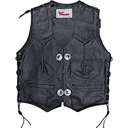 German Wear piel moto Sotana Chaleco, Negro