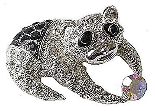 Schwarz Silber Finish Koala Kristall mit Kostüm Fancy Brosche Pin Geschenk Schmuck für Frauen (Teenage Kostüm Schmuck)