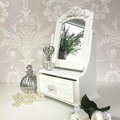 Shabby Chic Vanity Mirror Dressing Table Storage Unit Jewellery Trinket Box - cheap UK light shop.