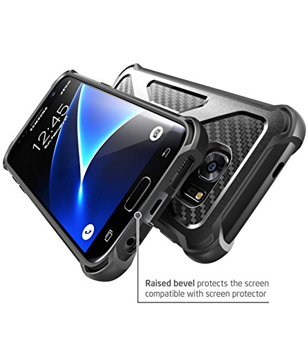 i-Blason Samsung Galaxy S7 Edge (2016 Release) Hülle Prime Serie - 2-Schicht Schutzhülle/Tasche/Gehäuse/Zubehör mit Standhalter, schwenkbaren Gürtelschnalle mit Locking-Mechanismus (Schwarz)