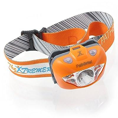 PathBriteTM LED Stirnlampe - Geeignet fürs Campen, Heimwerken, Laufen und für die Jagd. IR-Kontrollsensor durch Handbewegung, weiße/rote Beleuchtungseinstellung, Notfall Blinker - super hell, leicht, wasserdicht. Kostenlose Batterien und Tasche. Lebenslan