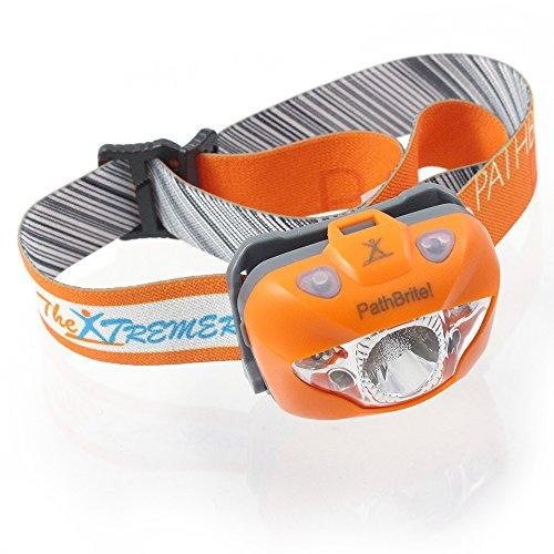 PathBrite™ LED Stirnlampe – Geeignet fürs Campen, Heimwerken, Laufen und für die Jagd. IR-Kontrollsensor durch Handbewegung, weiße/rote Beleuchtungseinstellung, Notfall Blinker – super hell, leicht, wasserdicht. Kostenlose Batterien und Tasche. Lebenslange Garantie (Orange)
