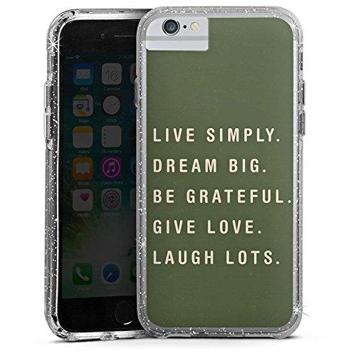 Apple iPhone 8 Bumper Hülle Bumper Case Glitzer Hülle Amour Liebe Love Bumper Case Glitzer silber