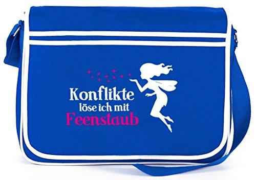 Shirtstreet24, Feenstaub, Fee Fairy Retro Messenger Bag Kuriertasche Umhängetasche Royal Blau