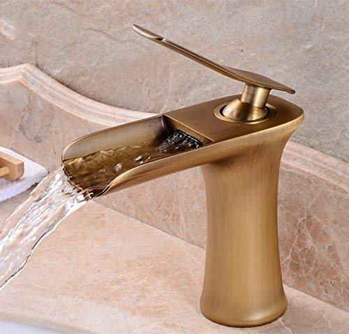FXDCQC Alle Kupfer Antik Waschtisch Wasserfall Einloch Tischplatten Becken Retro Heiß/Kaltwasser.