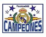 Bandera Real Madrid 'Campeones'. 150 x 100 cm. Producto oficial.