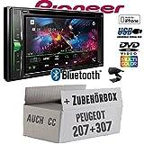Peugeot 207 307 - Autoradio Radio Pioneer AVH-A200BT - 2-Din Bluetooth | CD/DVD | MP3 | USB - Einbauzubehör - Einbauset