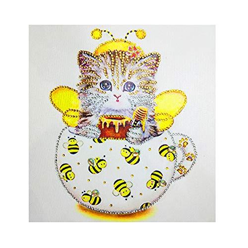 antmalerei, Kristall-Strass-Stickerei, Gemälde für Heimwanddekoration, kreative, bunte Vögel und Katzen Kreuzstich, C, 30 * 30cm ()