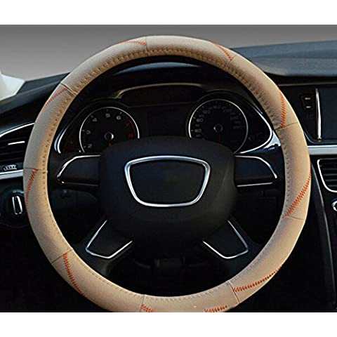 Rotella di lusso universale Anti Slip Genuine Leather Steering Car Cover traspirante vera pelle 38cm / 15