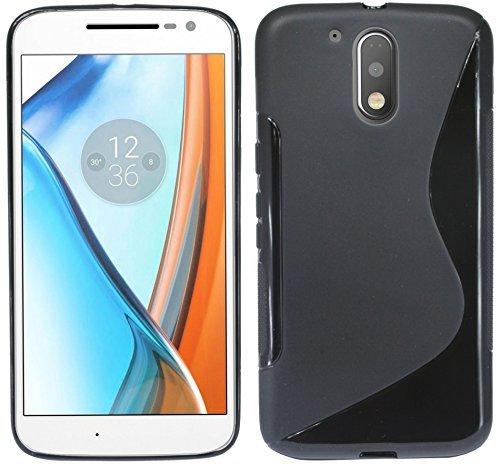 ENERGMiX S-Line TPU SchutzHülle kompatibel mit Motorola Moto G4 Plus Silikon Hülle in Schwarz