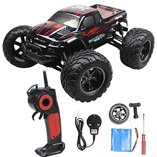 2.4GHz 1:12 Remote Controlled Cars RC Monster Truck Up to 50MPH High Speed and with 100 Meter Control Range (Red, Updated)