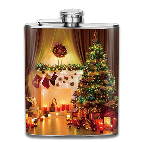 Gxdchfj Christmas Spirit In The House with Lights and Decorative Objects Peaceful Place Gift for Men 304 Stainless Steel Flask 7oz (Blue Spirit Light American)