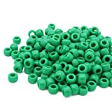 Beads Unlimited Opaque Plastic Barrel Pony, Green, 6 x 8 mm