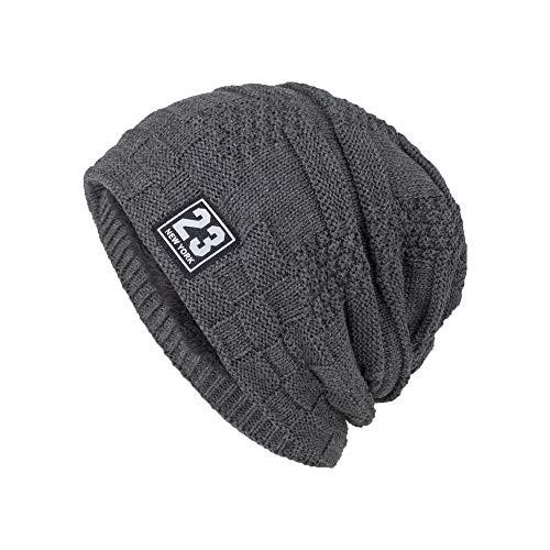 LFEILONG Herren Herbst und Winter neu Plus Samtstoff Kopf Mütze Strickpullover Mütze grau 01