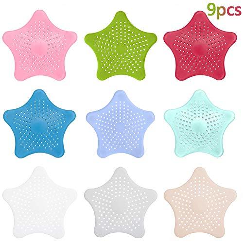 BETOY Abflusssieb aus Silikon, 9 Stücke Starfish Waschbecken Filter rutschfeste Abdeckung Stopper für Küche Badewanne und Waschbecken - Mix Farben 15,7 x 14 cm