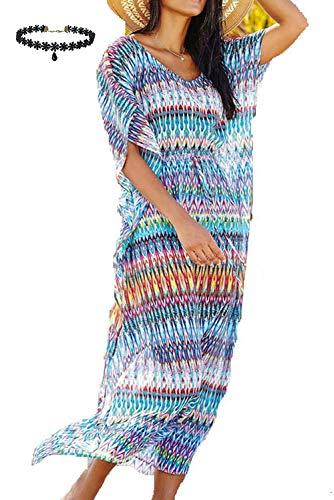 2c1b3d030 Caftan para la Playa Largo Bohemio Hippie Chic Vestido Estampado ...