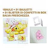 Bomboniere Disney Nascita Battesimo Maschio o Femmina a seconda della Scelta selezionata (Winnie The Pooh Kit Che comprende 1 Baule - 31 bauletti Misti - 31 Blister Confetti Rosa)