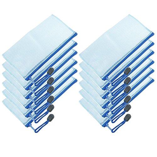 Beutel mit Reißverschluss, 12 Stück, PVC, Dokumententaschen, Format A6, für Schule und Büro, Etuis blau (12-reißverschluss-blau)