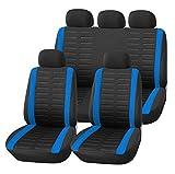 Upgrade4cars Auto-Sitzbezüge Set Schwarz Blau Universal | Auto-Schonbezüge für die Vordersitze & Rückbank | Auto-Sitzschoner | Sitzbezug Komplett-Set | Auto-Zubehör Innenraum Tuning (B1 Blau)