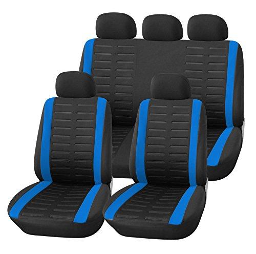 upgrade4cars Coprisedile Universale Auto Blu Nero Set Copri-sedili Donna Universali per Anteriori e Posteriori Accessori Auto Interno