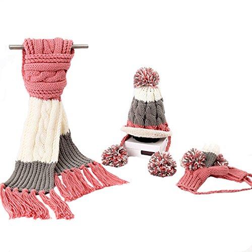 Coréenne Mme Réchauffer épais Glands De Laine De Balle Foulards Chapeaux Gants Trois-pièces pink