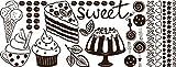 GRAZDesign Wandtattoo Küche günstig Torte - Geschenk Frau Geburtstag Sweet - Sprüche für Küche Dessert - Wandtattoo Küche mehrteiliges Set / 148x57cm / 080 braun / 770159_57_080