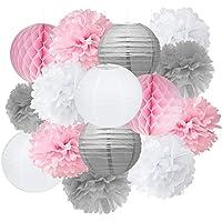 Furuix Baby Shower Decoration de Salle dragées 15 pcs Rose Gris Blanc kit de décoration de fête papier de soie Pom Pom Boule en nid d'abeille pour mariage Douche Fille anniversaire de mariage Décoration Rose