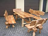 Massivholz Sitzgruppe Eiche für den Garten - Langer Tisch aus Holz und 4 Bänke mit Rückenlehne