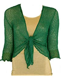2fcb40220a7a8 LADIES PLAIN KNITTED CROPPED TIE UP BOLERO SHRUG TOP - MASSIVE RANGE OF  COLOURS FIT ALL