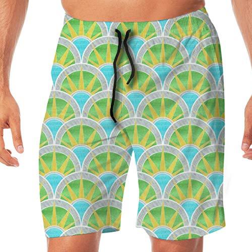 Fancy Art Deco Fan Pattern In Green and Silver Men's Swim Trunks Quick Dry Funny Shorts Swimwear Bathing...