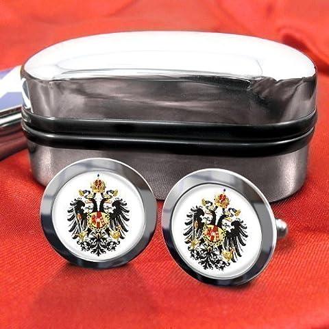 Austriaci Imperial Desert Eagle Da uomo gemelli con scatola cromata regalo