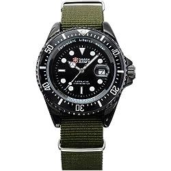 SHARK ARMY SAW016 Reloj Hombre de Cuarzo, Correa de Nyl¨®n Verde,