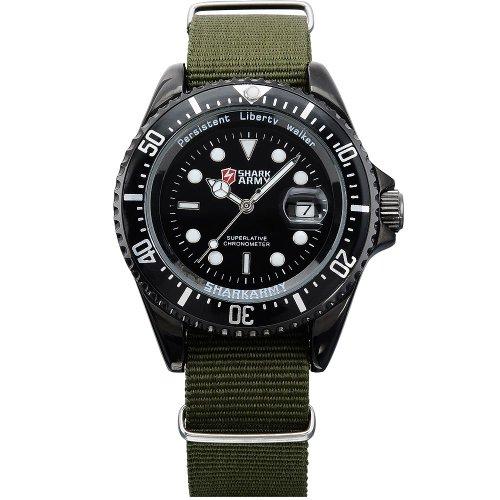 Shark army saw016-orologio da polso uomo,nylon,datario,militare analogico sportivo quarzo,colore:verde