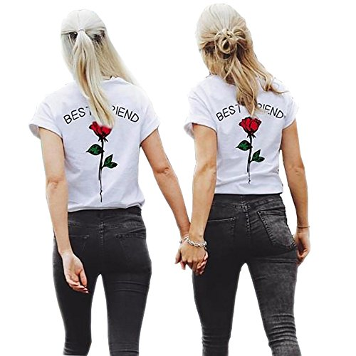Shujin 1 Stücke Damen Mädchen Sommer Süß Partnerlook T-Shirt mit Rose Aufdrucken Best Friends Kurzarmshirt Freund Shirt Oberteile Tops (T-shirt Mädchen Damen)