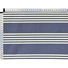 Tela de tapicería, tela de tapicería, tela de tapicería, tela, tela de la cortina, tela - Nilo, perla blanca azul - diseño de moda de rayas en tela mezclada