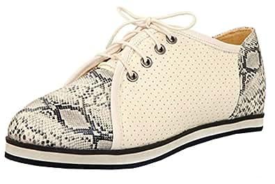 SHOWHOW Damen Luftig Flach Schlangen-Muster Freizeitschuh Sneakers Pink 40 EU upvPyXsPH