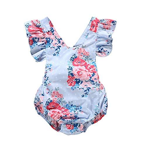 Livoral Madchen Geschenke 4 Jahre Kid Neugeborenen Baby Mädchen Print Fly Sleeve Backless Strampler Bodysuit Kleidung(Blau,70)