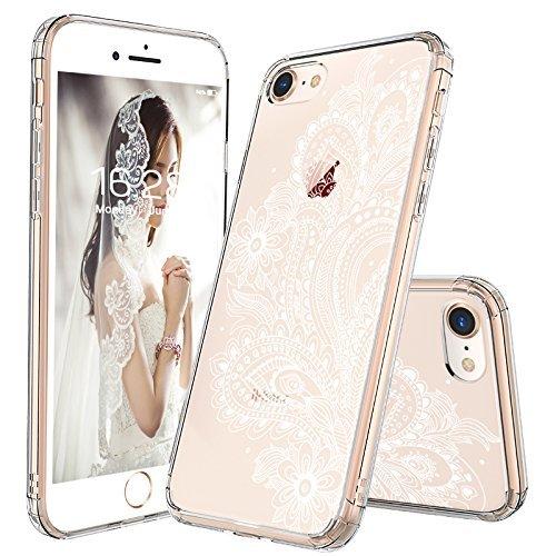 MOSNOVO iPhone 8 Hülle, iPhone 7 Hülle, Paisley Henna Blumen Weiß Muster TPU Rahmen mit Hart Plastik Hülle Durchsichtig Schutzhülle für iPhone 7 (2016) / iPhone 8 (2017), iPhone 7/8 Case