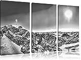 Monocrome, Zugspitze im Sonnenlicht 3-Teiler Leinwandbild