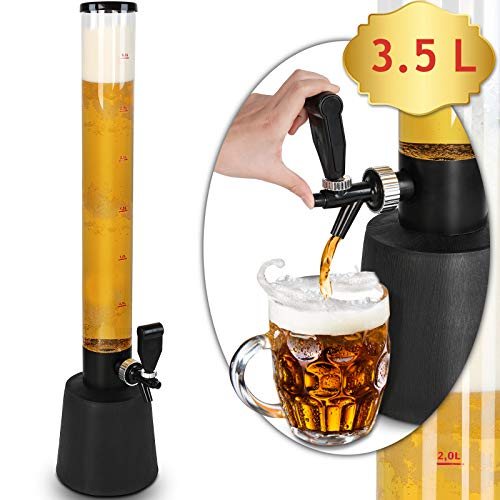 Jago Biersäule mit Zapfhahn | 3.5L Volumen, 90cm Hoch | Party Getränkesäule, Trinksäule, Biertower, Bierspender, Getränkespender, Bier Zapfsäule
